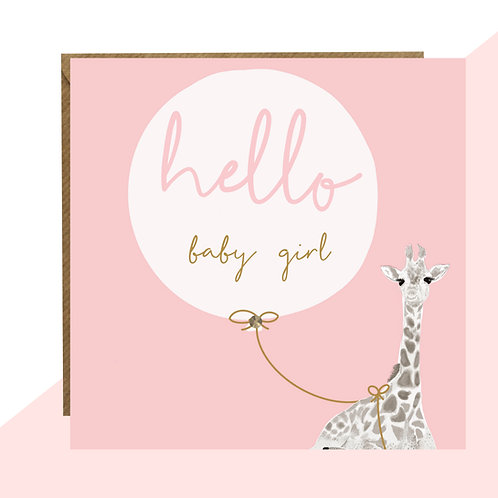 'Hello Baby Girl' New Baby Card