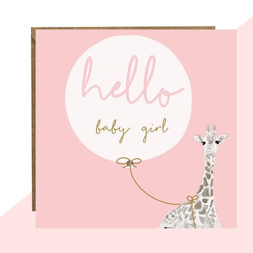 'Hello Baby Girl' New Baby Card