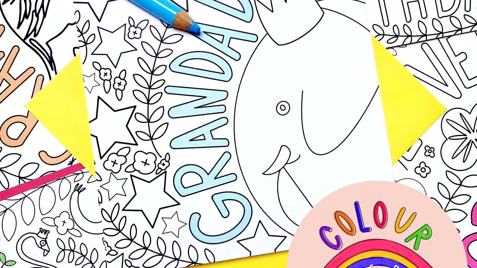 Colour + Send Grandad Card