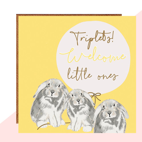 Welcome Triplets Bunny Card