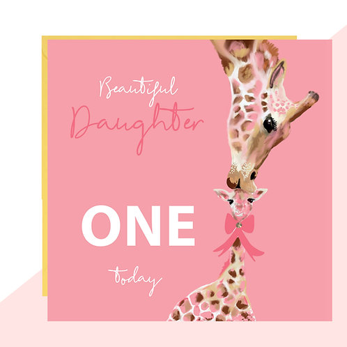 Daughter First Birthday Giraffe Card