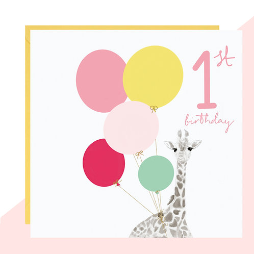 1st Birthday Giraffe Card