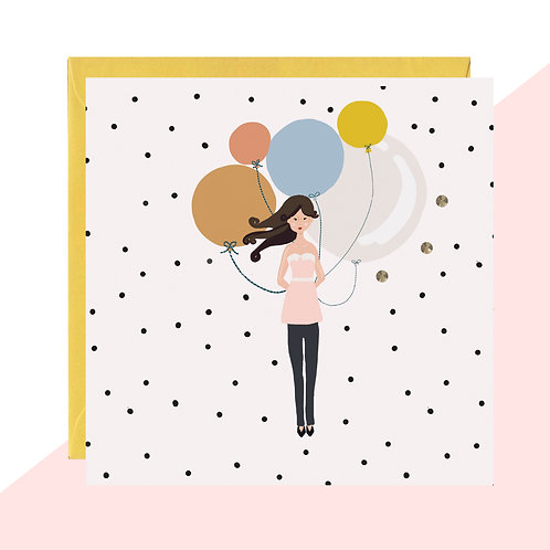Birthday Girl with Balloons Card