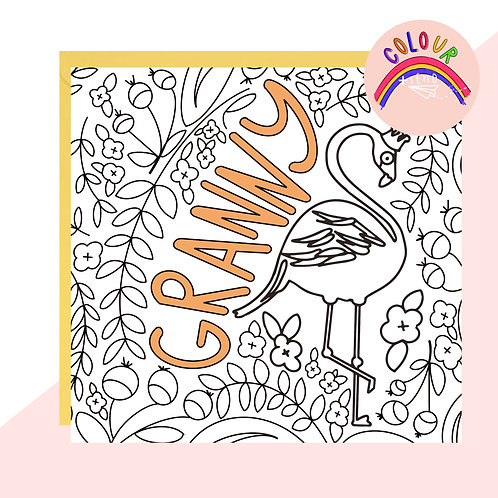 Colour + Send 'Granny' Flamingo Card