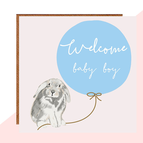 Welcome Baby Boy Bunny Card