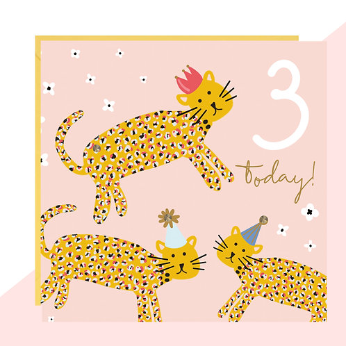 3 Today! Leopards Birthday Card
