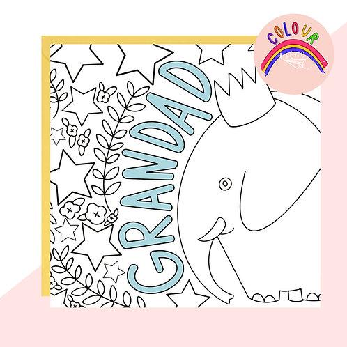 Colour + Send 'Grandad' Elephant Card