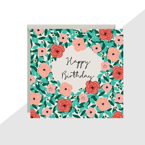 'Happy Birthday' Floral Mini Card