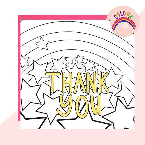 Colour + Send 'Thank You' Rainbow Card