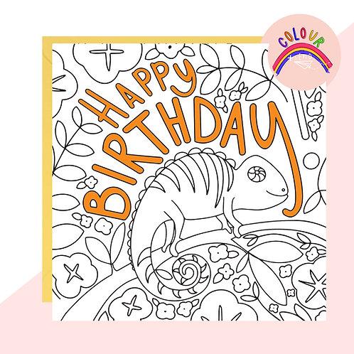 Colour + Send 'Happy Birthday' Chameleon Card