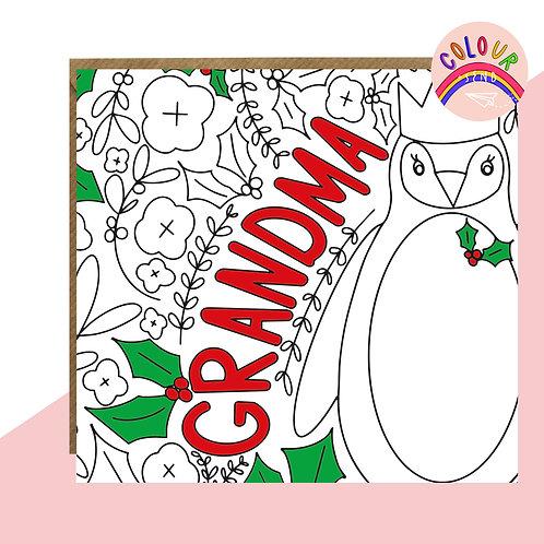 Colour + Send 'Grandma' Christmas Card