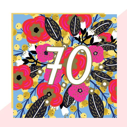 70th Birthday Floral Card