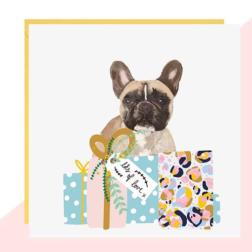 French Bulldog Presents Birthday Card