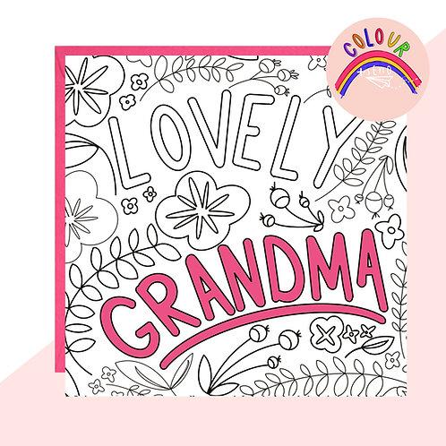 Colour + Send 'Lovely Grandma' Floral Card