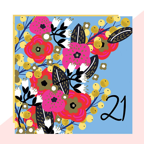 21st Birthday Floral Card