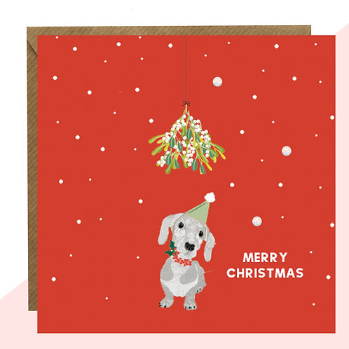 'Sausage Dog' Red Christmas Card