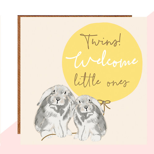 Welcome Twins Bunny Card