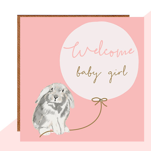 Welcome Baby Girl Bunny Card