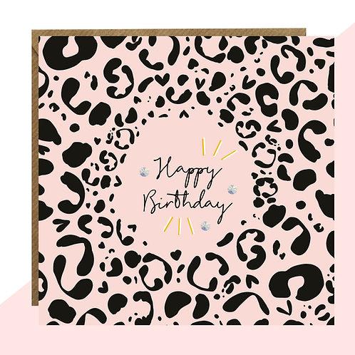 Leopard Print 'Happy Birthday' Card
