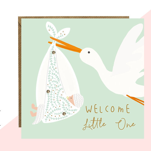 'Welcome Little One' Stork & Baby