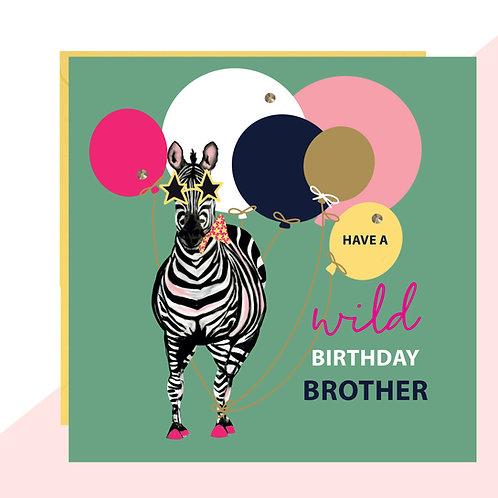 Brother Zebra Birthday Card