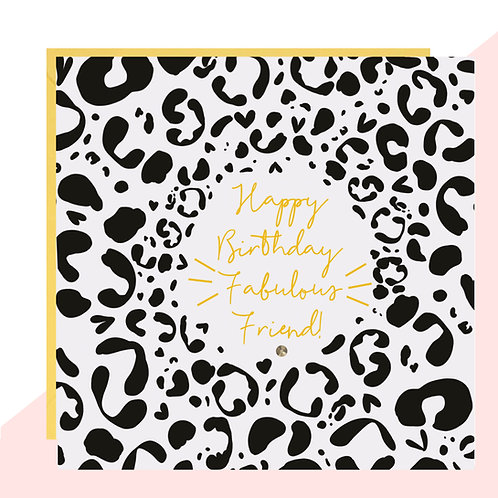 'Fabulous Friend' Leopard Print Birthday Card
