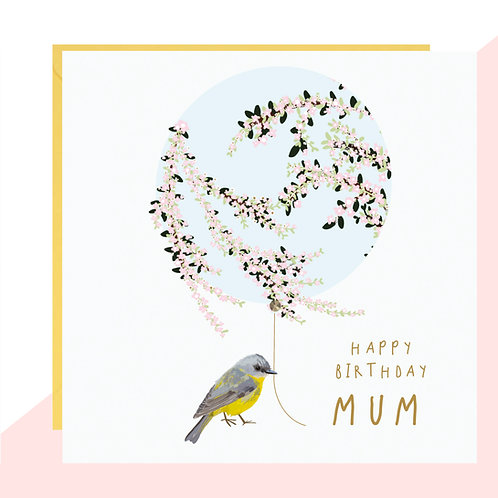 'Happy Birthday Mum' Bird & Balloon Card
