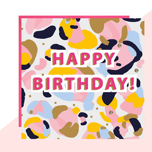 'Happy Birthday!' Leopard Print Bold Card