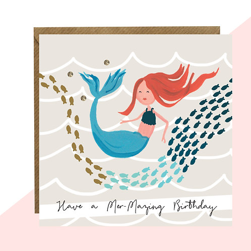 'Have A Mer-Mazing Birthday'Mermaid Card