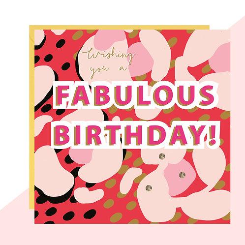 'Fabulous Birthday!' Leopard Print Bold Card