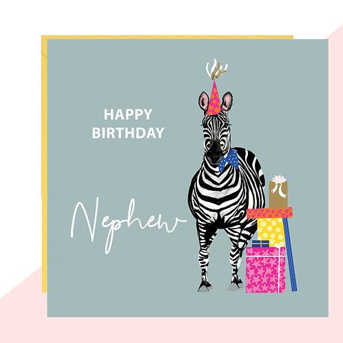 Nephew Zebra Birthday Card