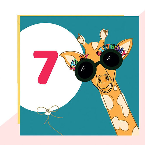 7th Birthday Giraffe Card