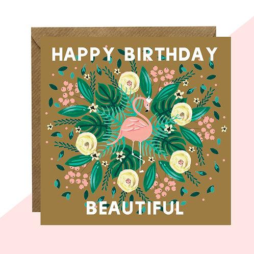 'Happy Birthday Beautiful' Flamingo Card