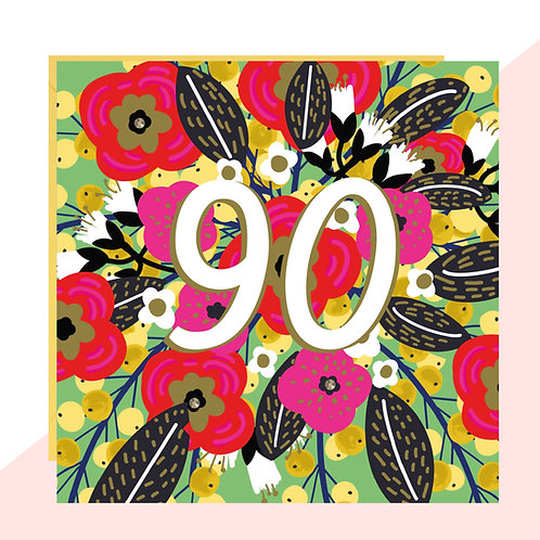 90th Birthday Floral Card