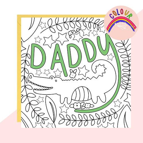 Colour + Send 'Daddy' Crocodile Card