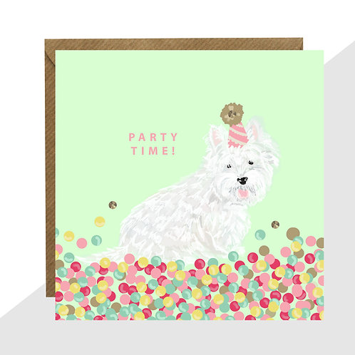 'Party Time!' Westie Card