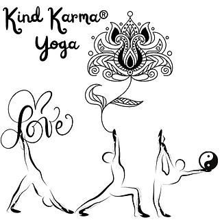Illustrations of Yoga poses with lotus and yin yang symbol.
