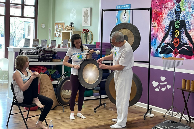 Dean Telano teaching how to use gong.