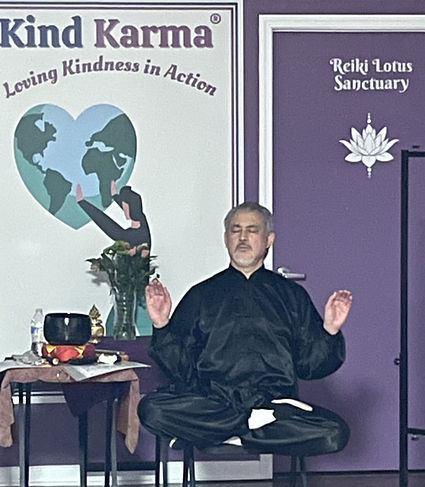 Dean Telano, Founder of Kind Karma, meditating