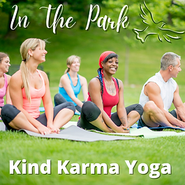 Inclusive outdoor yoga class.