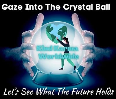 Kind Karma Worldwide Image with crystal ball, hands and hearrt.