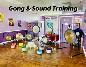 Gongs, crystal bowls and other sound healing instruments.