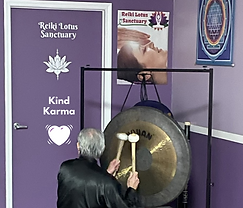 Dean Telano playing the Gong