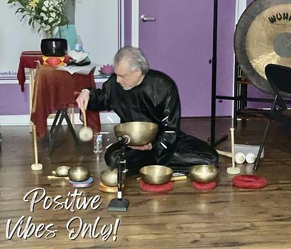 Dean Telano playing the tibetan singing bowls