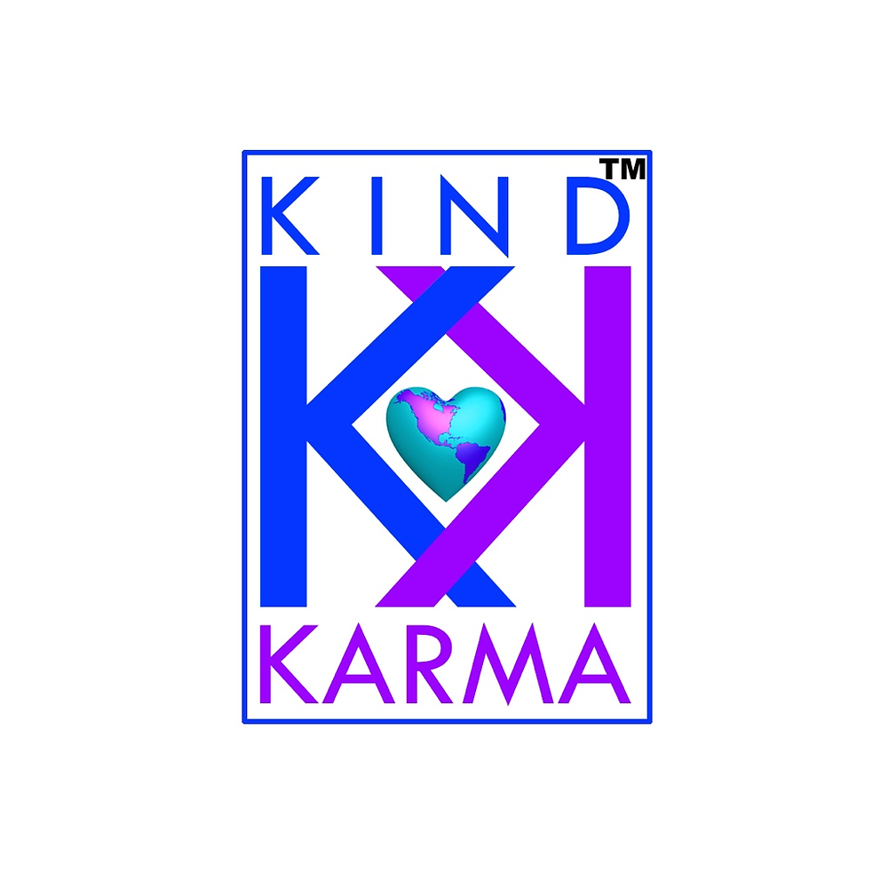 Kind Karma Logo with World Shape Heart and Two Letter K's. One symbolizing the word Kind, the other, Karma.