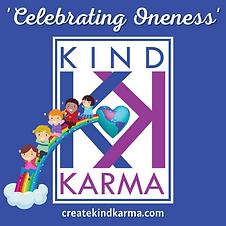Kind Karma Logo with Kids on a Rainbow.