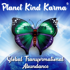 Planet Kind Karma with image of Earth and butterfly.