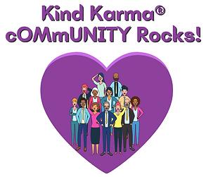 Kind Karma Worldwide Logo with a Diverse Group of People Inside Purple Heart.