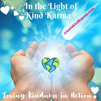 Kind Karma Image of Hands Healing the Earth.