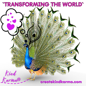 Kind Karma Photo of Peacock Transforming the World with Love.